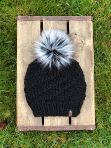 Hand Knit Cyclone Beanie Black Siberian Pom - KitchenKlutter