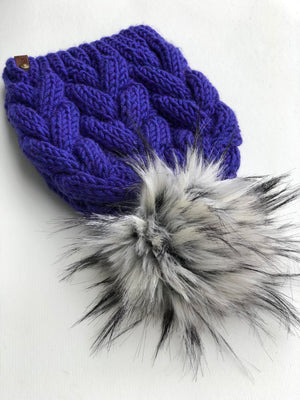 Violet Wool Spun Hand Knit Braided Cable Beanie Hat