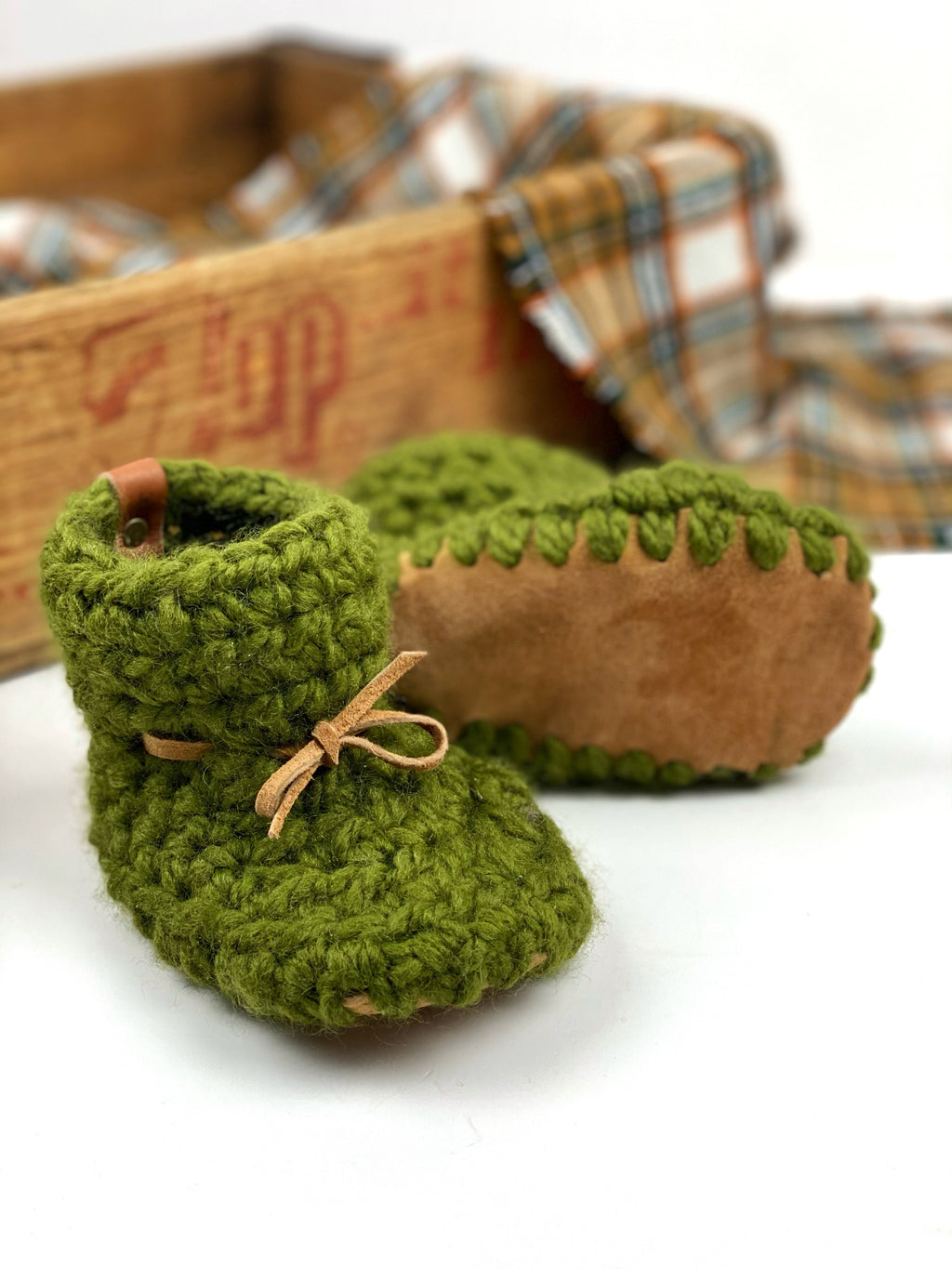 Padraig Crocheted Suede Sole Baby Booties Handmade