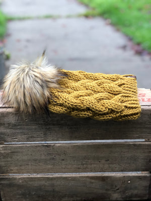Honey Braided Cable Beanie Simba Fox Faux Fur Pom - KitchenKlutter