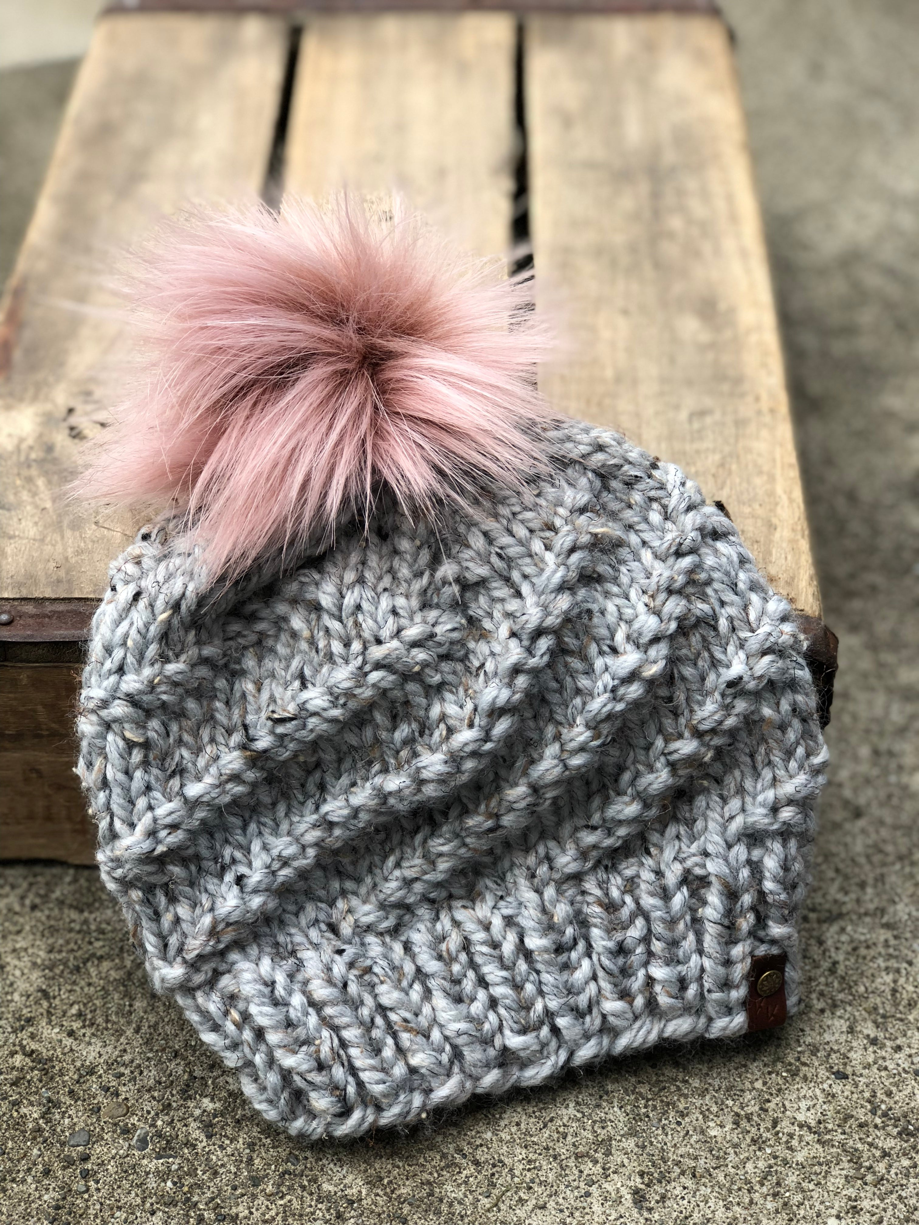Hand Knit Cyclone Beanie Grey Marble Hat