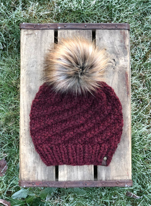Hand Knit Cyclone Beanie Claret Fox Tail Pom - KitchenKlutter