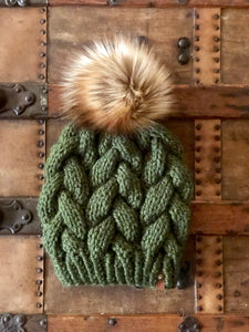 Forest Green Braided Cable Beanie Toasted Marshmallow Faux Fur Pom - KitchenKlutter