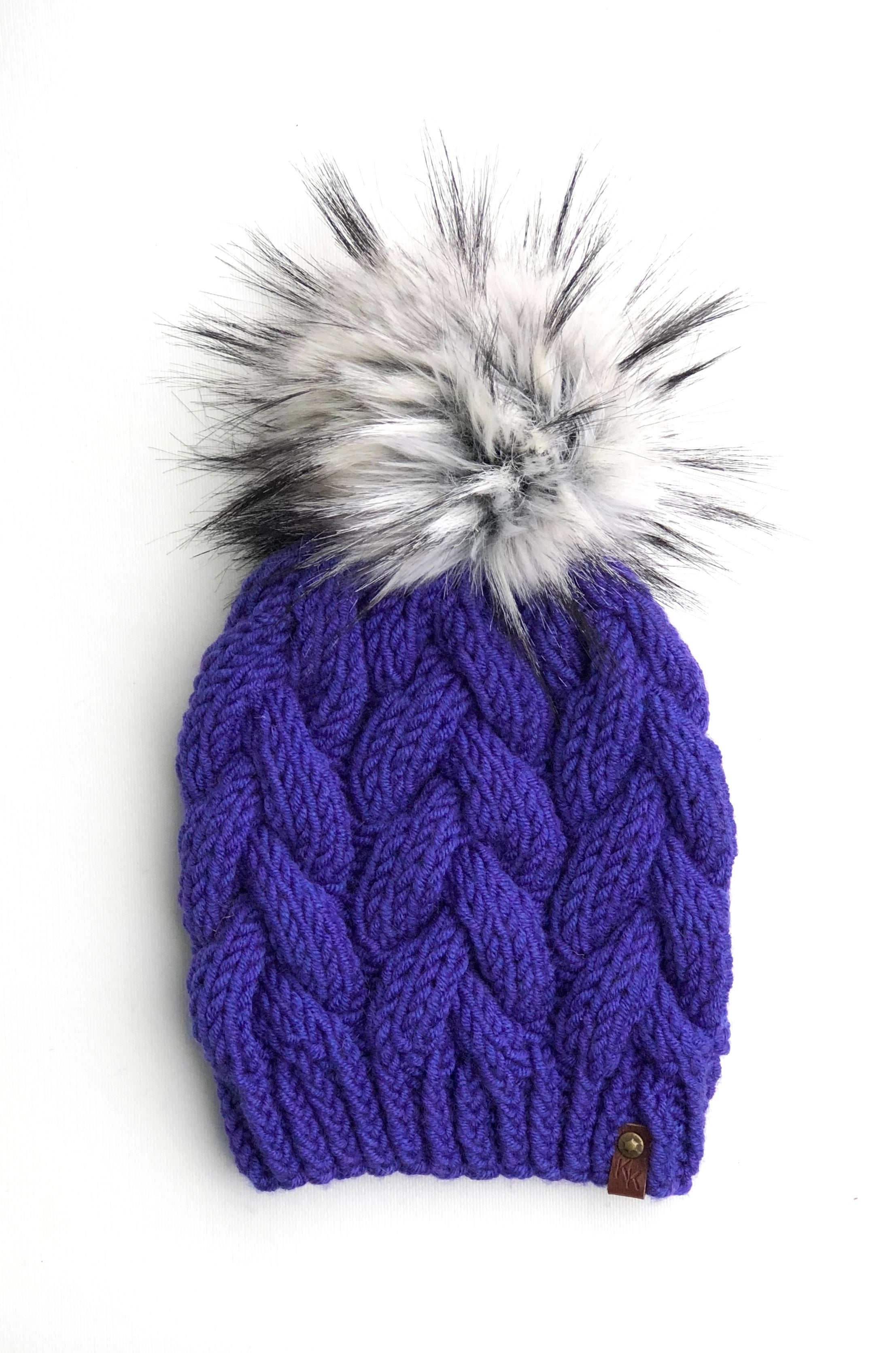 Violet Wool Spun Hand Knit Braided Cable Beanie Hat - KitchenKlutter