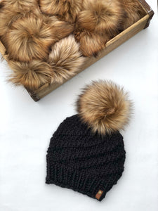 Black Hand Knit Cyclone Beanie Wool Blend Toasted Marshmallow Faux Fur Pom Hat