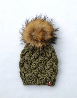 Braided Cable Beanie + Faux Fur Pom Acrylic