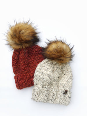 Ed's Hat Beanie Spice or Oatmeal Tamarin Faux Fur Pom - KitchenKlutter
