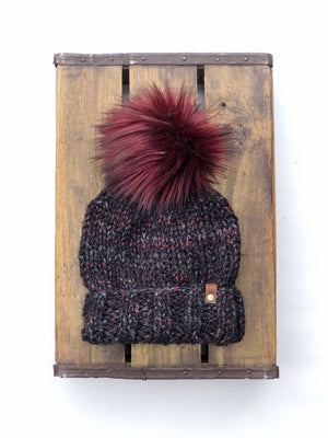 Blackstone Ed's Hat Cyclone or Kaister Knit Beanie Wool Blend Merlot Faux Fur Pom Pom Hat
