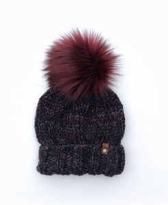 Blackstone Ed's Hat Cyclone or Kaister Knit Beanie Wool Blend Merlot Faux Fur Pom Pom Hat - KitchenKlutter