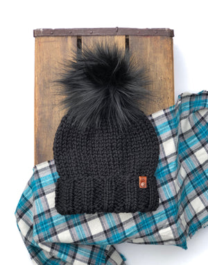Ed's Hat Beanie Black Onyx Faux Fur Pom - KitchenKlutter