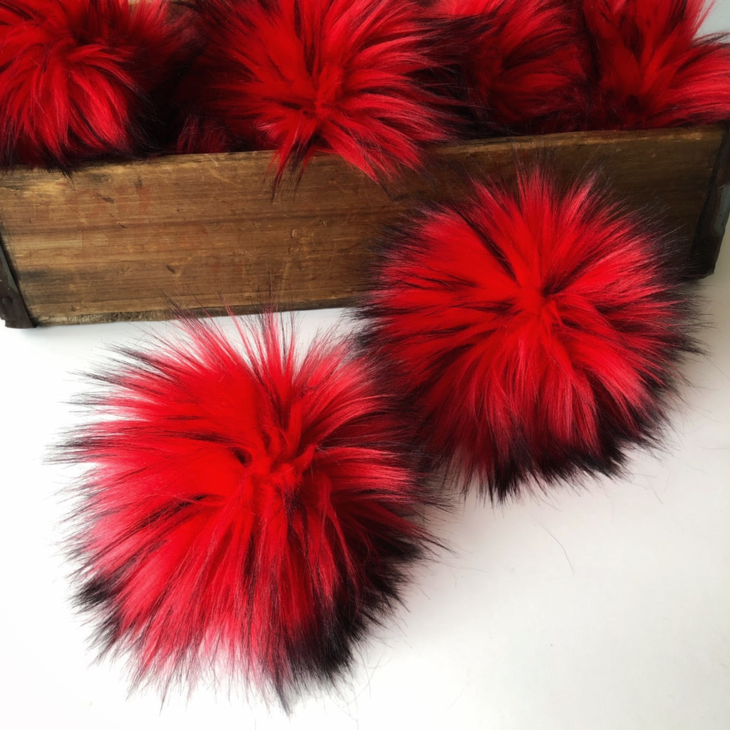 Red Rocker Faux Fur Pom Pom - KitchenKlutter