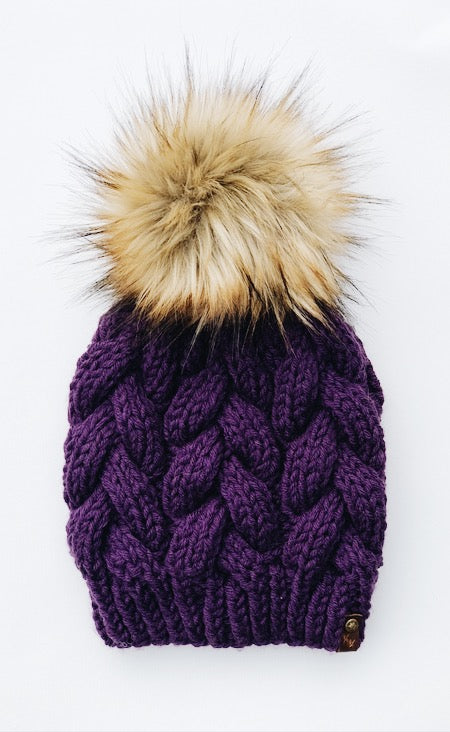 Purple Acyrlic Hand Knit Braided Cable Beanie Hat - KitchenKlutter