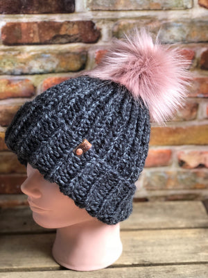 Hand Knit Olympic Snowboarder  Inspired Beanie Muse Faux Fur Pom