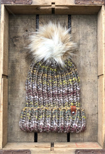 Hand Knit Folded Brim Super Bulky Beanie Snap on Faux Fur Pom