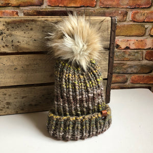 Hand Knit Folded Brim Super Bulky Beanie Snap on Faux Fur Pom - KitchenKlutter