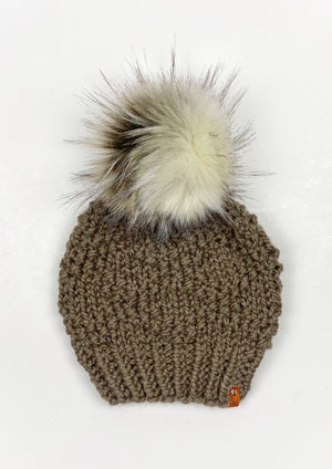 Etta Beanie Womens Hand Knit Bulky Hat Diamond Pattern Wool Blend Faux Fur Pom