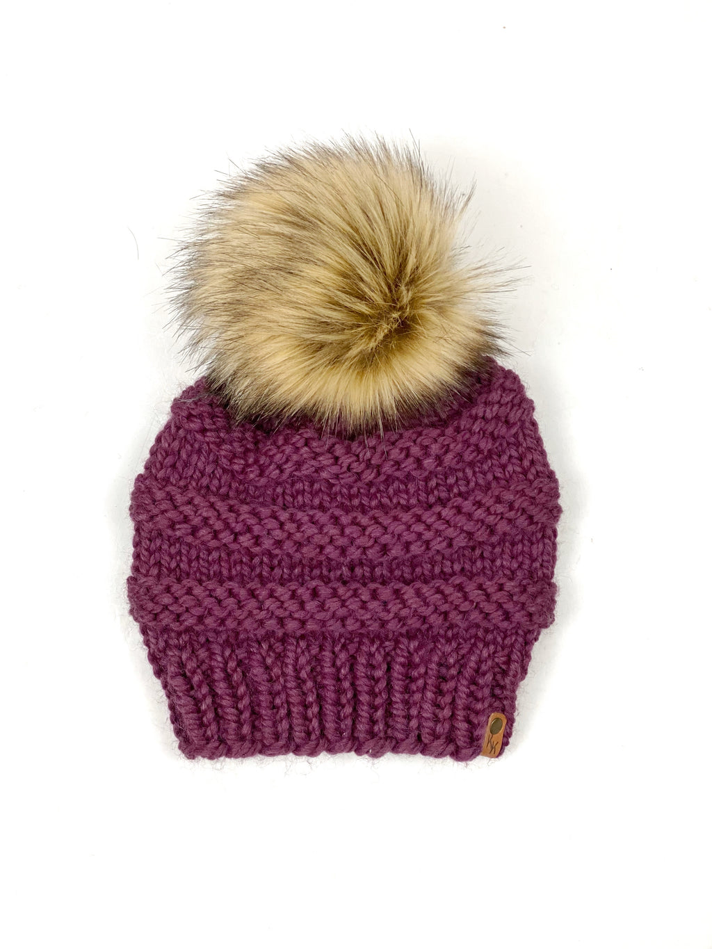 Fig Freddie Beanie, Womens Knit Hat, Copy Cat Beanie, Wool Blend Beanie, Faux Fur Pom