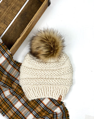 Niki Beanie, Womens Knit Hat, Copy Cat Beanie, Wool Blend Toasted Marshmallow Faux Fur Pom