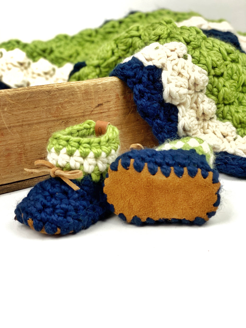 Seattle Seahawks Inspired Padraig Crocheted Suede Sole Baby Booties Handmade