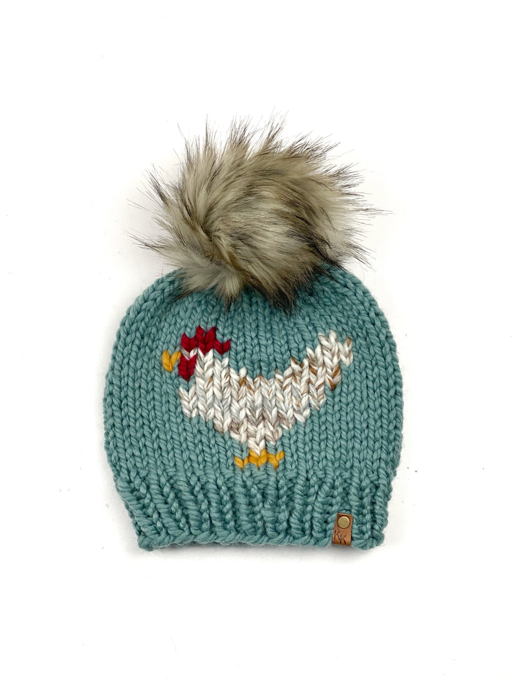 Chicken Hat Succulent & Fossil Beanie Wool Blend Womens Adult Hat Faux Fur Pom Pom Hat