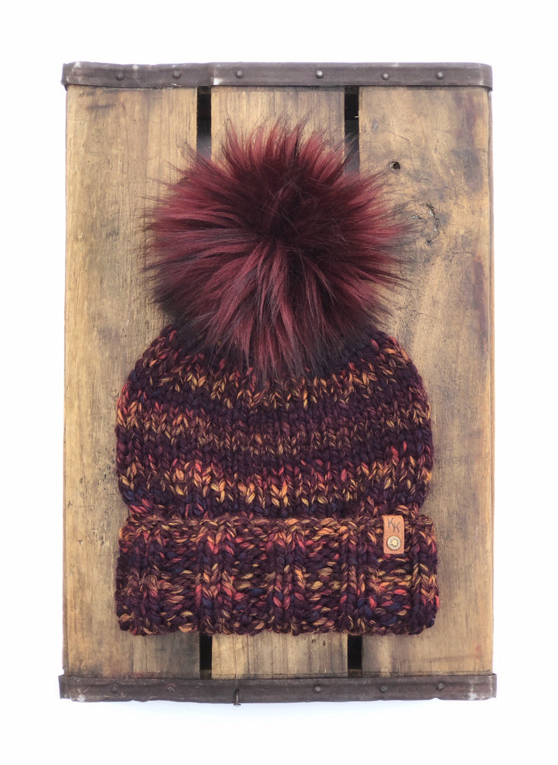 Ed's Hat Unisex Adult Folded Brim Beanie Harvest Wool Blend Bordeaux Faux Fur Pom - KitchenKlutter