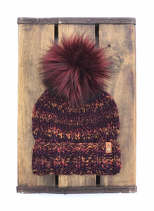 Ed's Hat Unisex Adult Folded Brim Beanie Harvest Wool Blend Bordeaux Faux Fur Pom
