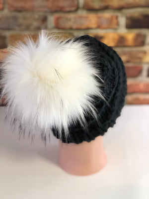 Hand Knit Cyclone Beanie Black White Pom - KitchenKlutter