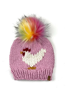 Blossom Chicken Hat Beanie Wool Blend Womens Adult Hat Faux Fur Pom Pom Hat
