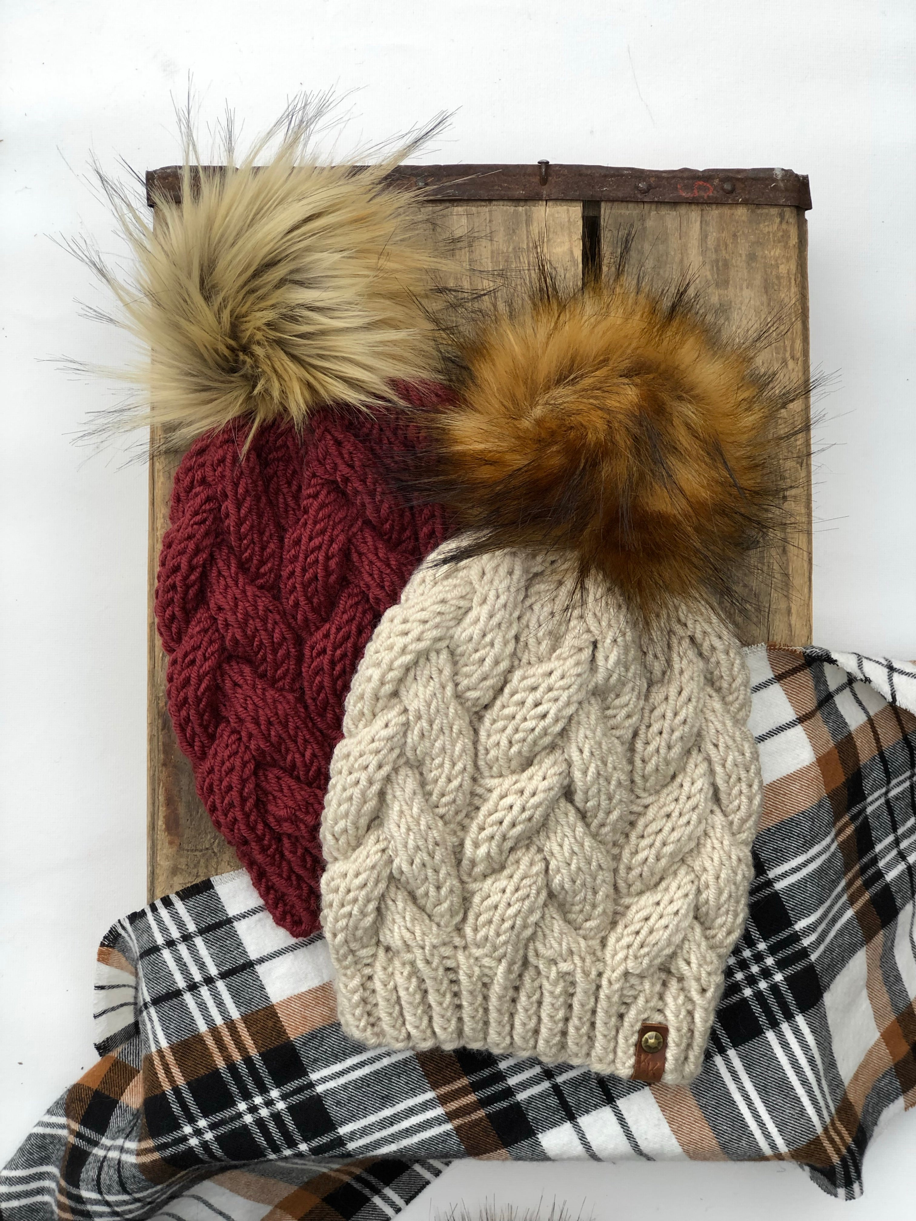 Pomegranate Braided Cable Beanie  Faux Fur Pom