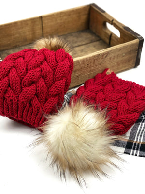 Red Braided Cable Beanie & Lynx or Toasted Marshmallow Faux Fur Pom