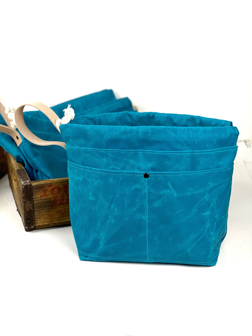 Turquoise Blue Waxed Canvas Project Bag Knit or Crochet Drawstring Tote Strap Flat Bottom