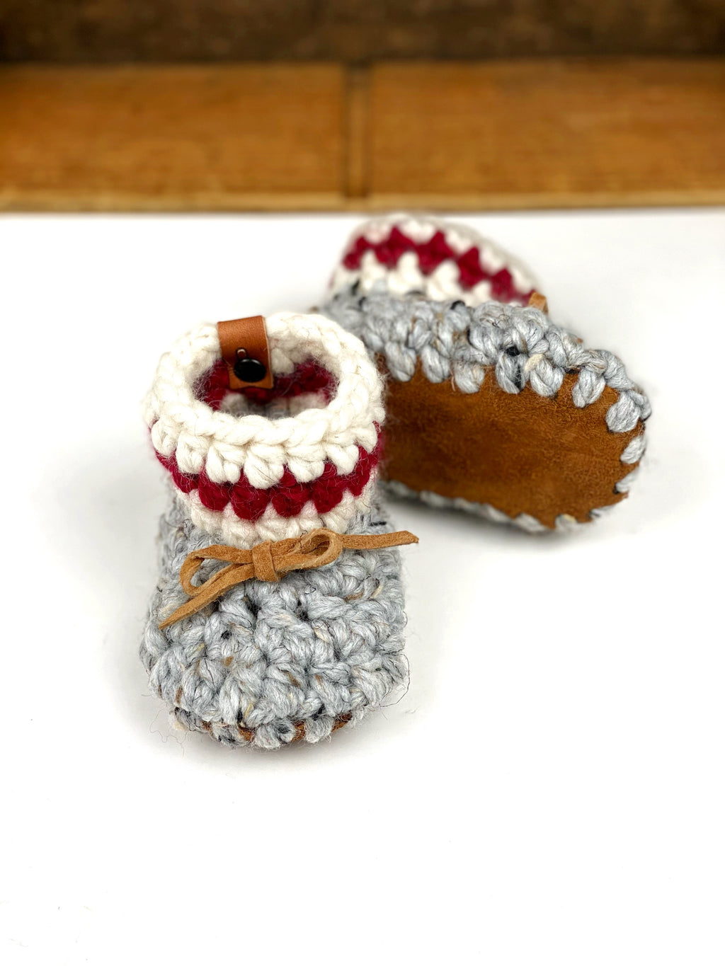 Sock Monkey Padraig Crocheted Suede Sole Baby Booties Handmade