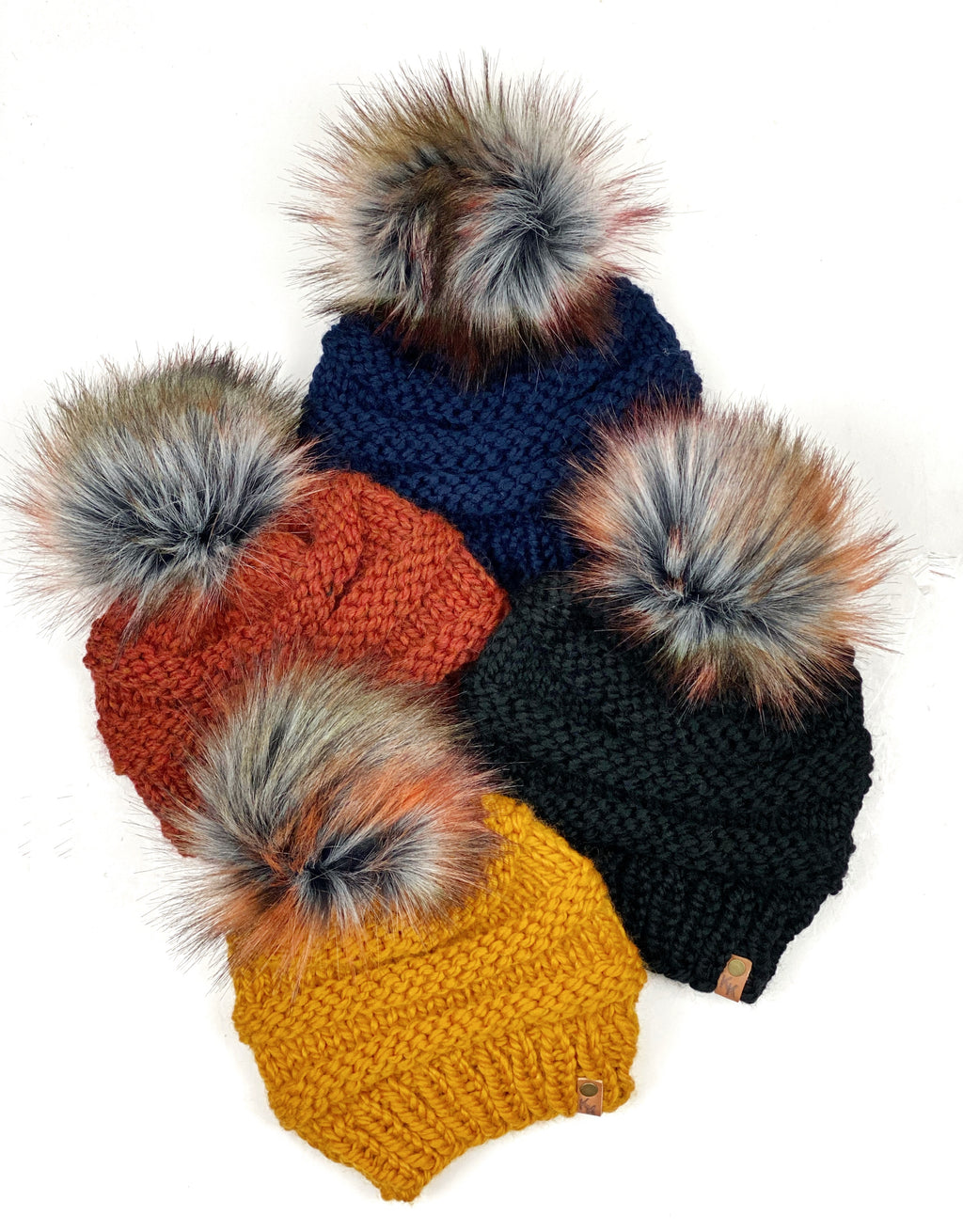 The Freddie Beanie, Womens Knit Hat, Copy Cat Beanie, Wool Blend Autumn Storm Faux Fur Pom