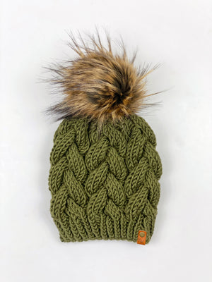 Braided Cable Beanie + Faux Fur Pom Acrylic - KitchenKlutter