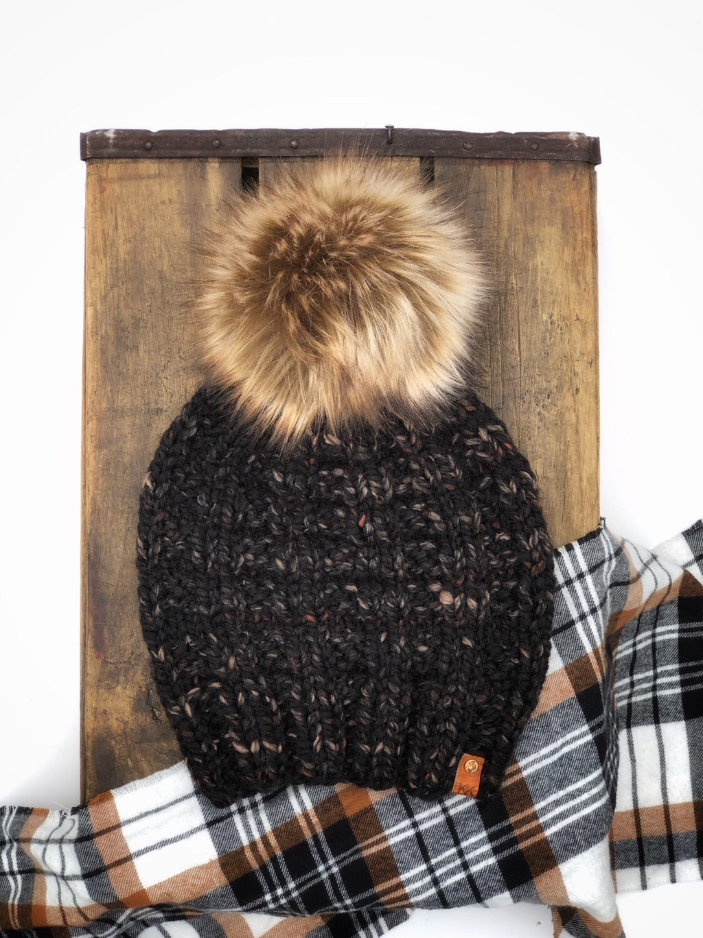 "Toasted Almond Rainier Knit Beanie 6"" Faux Fur Pom Pom Hat - KitchenKlutter"