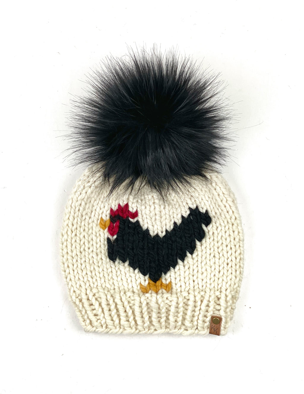 Fisherman & Black Chicken Beanie Wool Blend Womens Adult Hat Faux Fur Pom Pom Hat