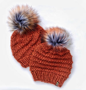 Spice Cyclone Hand Knit Beanie Autumn Storm Faux Fur Pom Pom Hat - KitchenKlutter