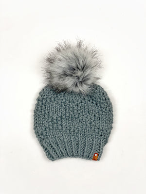 Etta Beanie Womens Hand Knit Bulky Hat Diamond Pattern Wool Blend Faux Fur Pom - KitchenKlutter