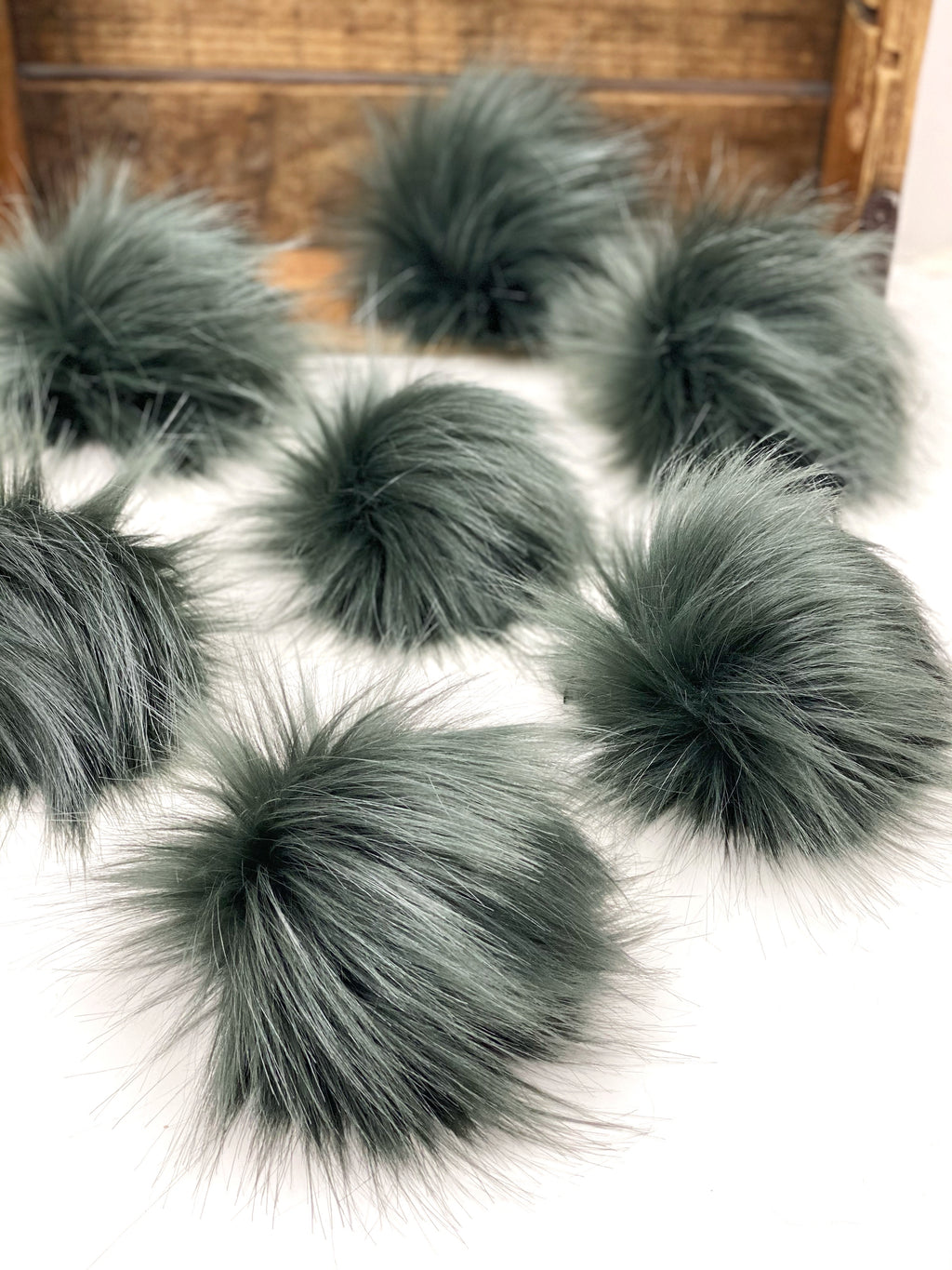 Graphite Gray Faux Fur Pom Pom