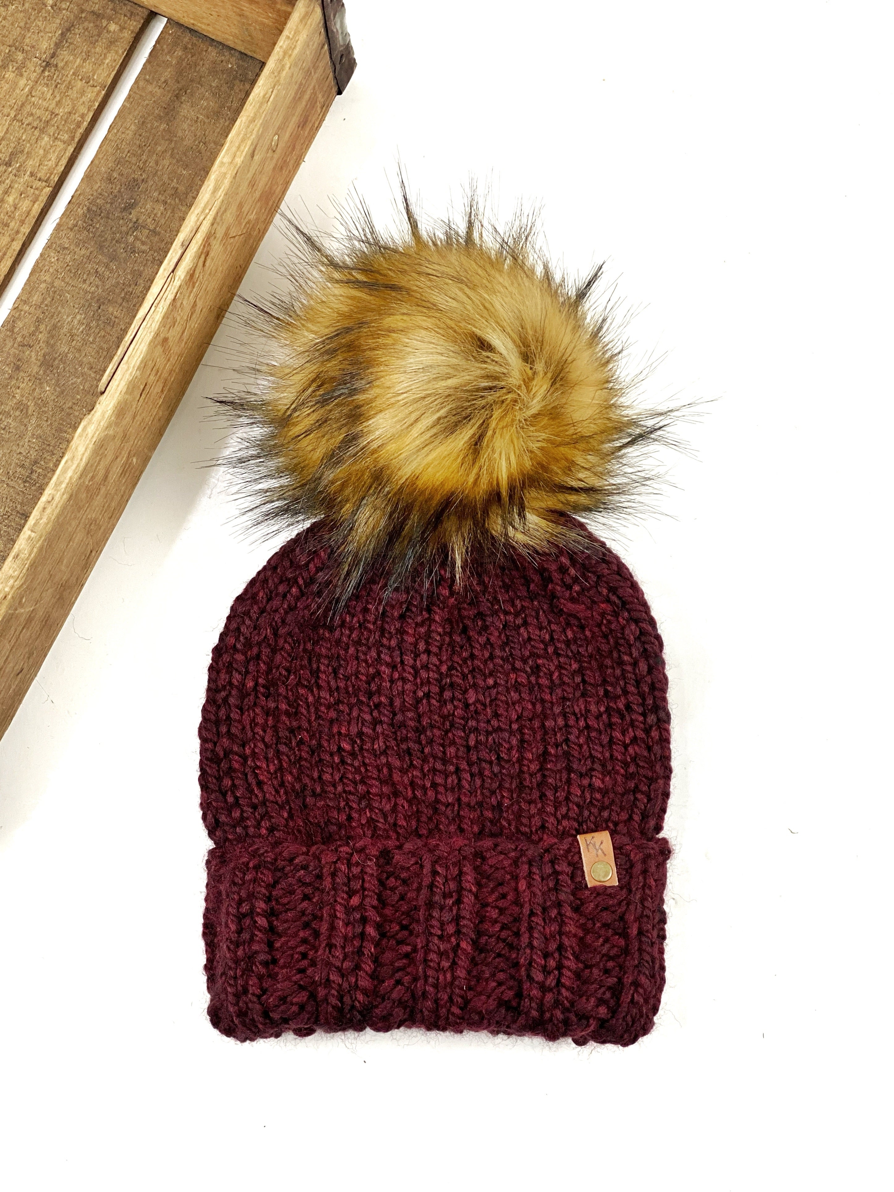 Sophie's Hat Womens Adult Folded Brim Beanie  Wool Blend Tamarin Faux Fur Pom