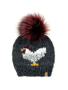Chicken Hat Charcoal Marble Beanie Wool Blend Womens Adult Hat Faux Fur Pom Pom Hat