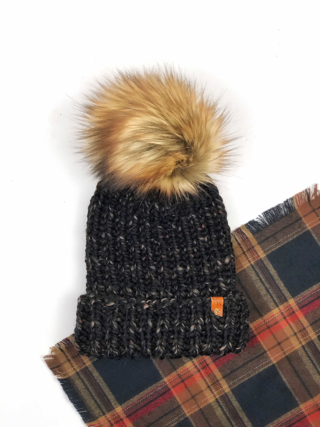 Folded Brim Super Bulky Hand Knit Beanie Faux Fur Pom - KitchenKlutter