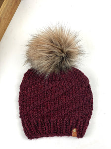 Hand Knit Cyclone Beanie Claret Fox Tail Pom