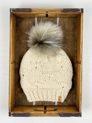 River Walk Beanie Hand Knit Wool Blend Faux Fur Pom Pom Hat - KitchenKlutter