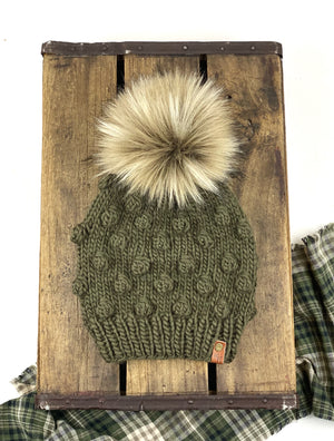 Peruvian Wool Olive Green Bobble Beanie and Faux Fur Pom, Womens Wool Hat, Pom Pom Hat