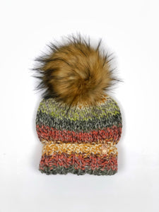 Coney Island Hand Knit Beanie Wool Blend Faux Fur Pom Pom Hat - KitchenKlutter