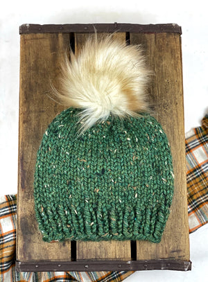 Kale Green Chicken Beanie Wool Blend Womens Adult Hat Faux Fur Pom Pom Hat