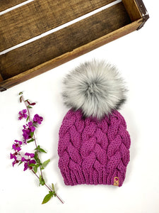 Orchid Pink Wool Spun Hand Knit Braided Cable Beanie Hat