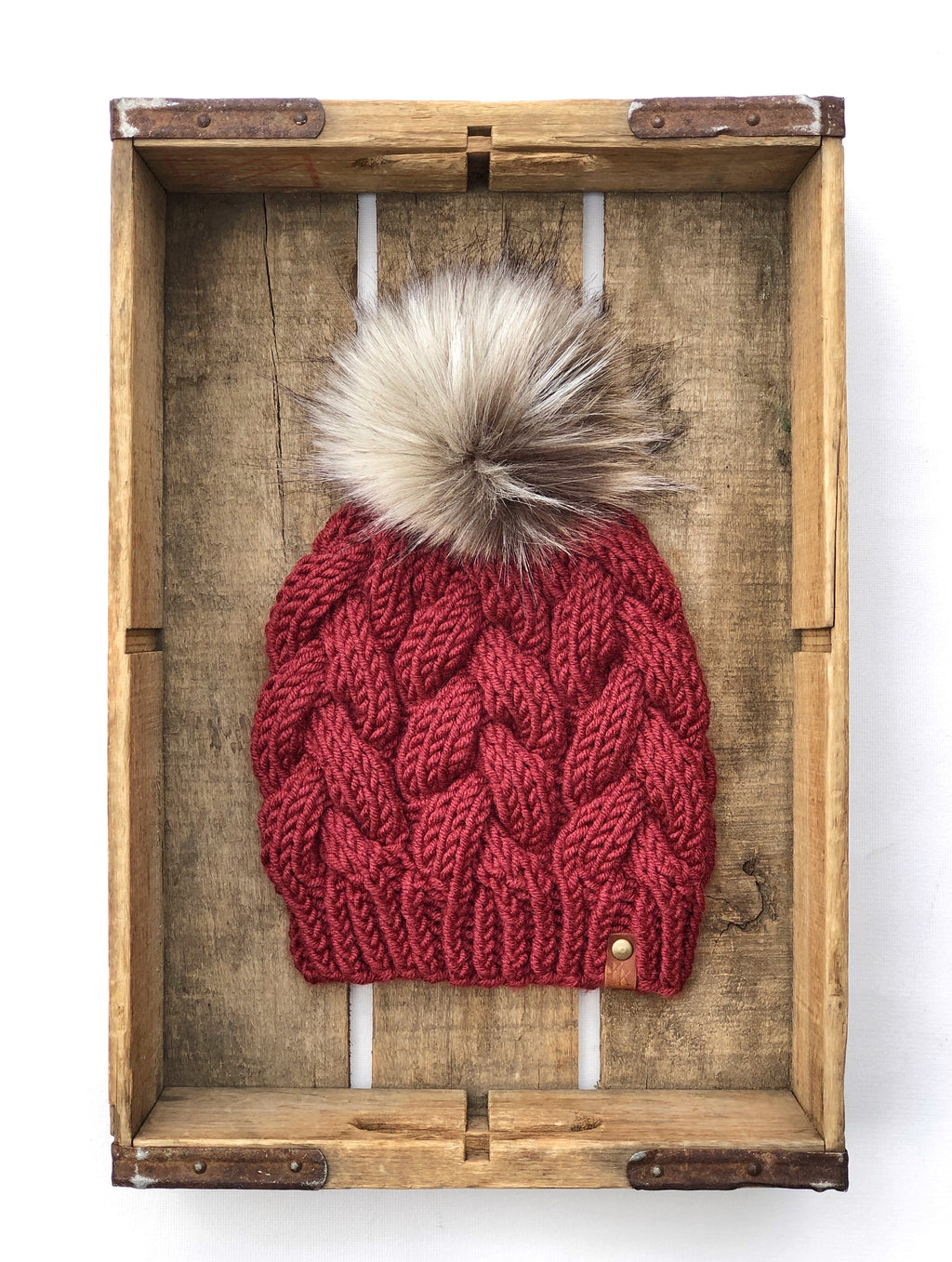 Pomegranate Braided Cable Beanie  Faux Fur Pom - KitchenKlutter