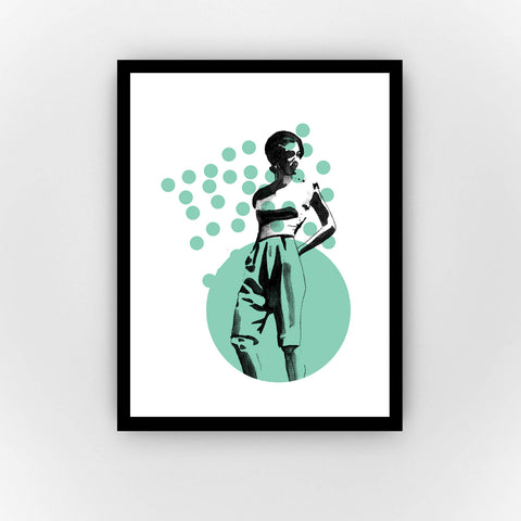 Fine Art Bureau - Dreaming Blue - Black ink drawing of strong woman in 20s style (full body) with one large and many small light green bubbles in the background - Quality fine art pigment print with black frame